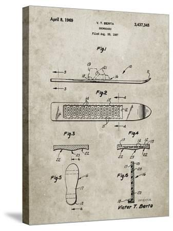 PP358-Sandstone Berta Magnetic Boot Snowboard Patent Poster-Cole Borders-Stretched Canvas Print