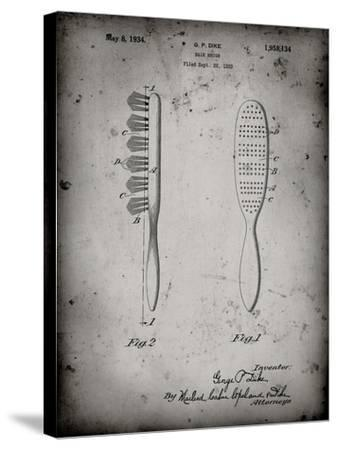 PP352-Faded Grey Wooden Hair Brush 1933 Patent Poster-Cole Borders-Stretched Canvas Print