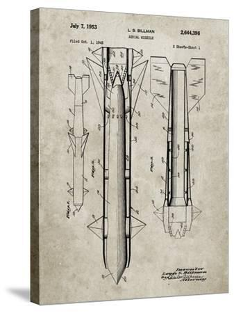 PP384-Sandstone Aerial Missile Patent Poster-Cole Borders-Stretched Canvas Print