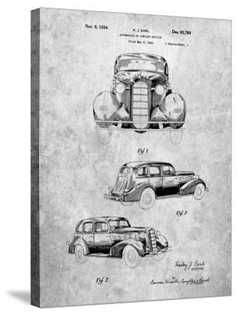PP471-Slate 1934 Buick Automobile Patent Poster-Cole Borders-Stretched Canvas Print