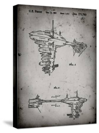 PP529-Faded Grey Star Wars Redemption Ship Patent Poster-Cole Borders-Stretched Canvas Print