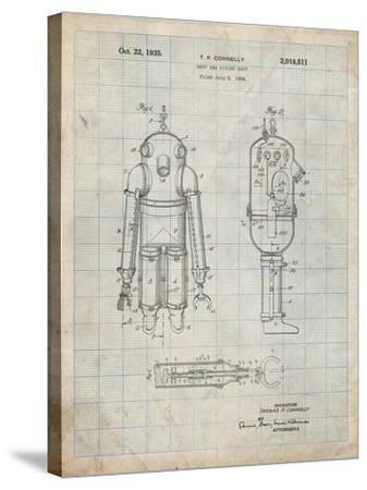 PP479-Antique Grid Parchment Deep Sea Diving Suit Patent Poster-Cole Borders-Stretched Canvas Print