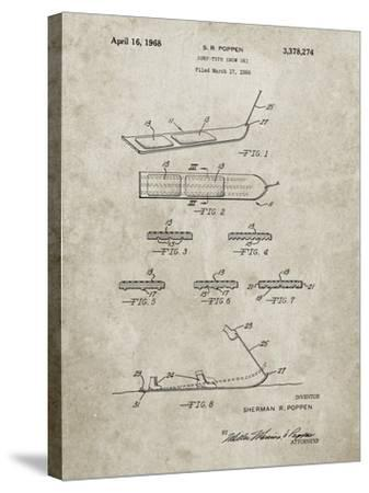 PP508-Sandstone Snurfer Poppen First Modern Snowboard Patent Poster-Cole Borders-Stretched Canvas Print
