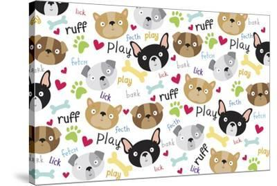 Pet Life dog pattern-Holli Conger-Stretched Canvas Print