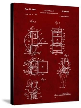PP632-Burgundy Framed Hiking Pack Patent Poster-Cole Borders-Stretched Canvas Print