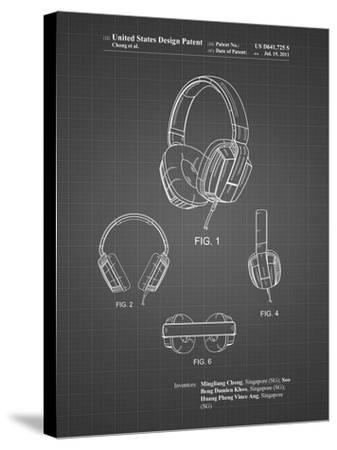 PP550-Black Grid Headphones Patent Poster-Cole Borders-Stretched Canvas Print