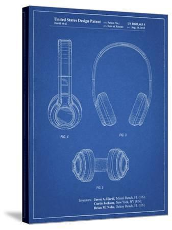 PP596-Blueprint Bluetooth Headphones Patent Poster-Cole Borders-Stretched Canvas Print