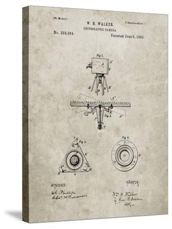 PP609-Sandstone Antique Camera Tripod Head Improvement Patent Poster-Cole Borders-Stretched Canvas Print