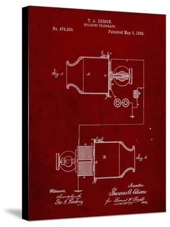 PP644-Burgundy Edison Speaking Telegraph Patent Poster-Cole Borders-Stretched Canvas Print
