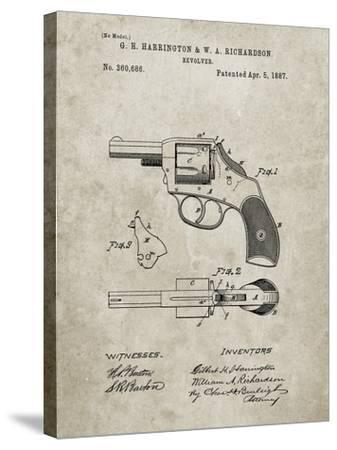 PP633-Sandstone H & R Revolver Pistol Patent Poster-Cole Borders-Stretched Canvas Print