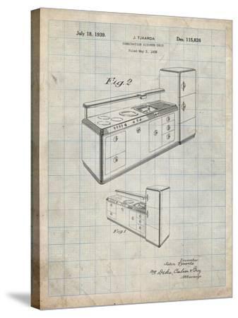PP659-Antique Grid Parchment Kitchen Cabinets Poster-Cole Borders-Stretched Canvas Print