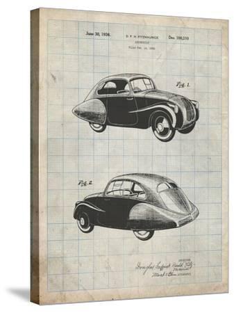 PP697-Antique Grid Parchment 1936 Tatra Concept Patent Poster-Cole Borders-Stretched Canvas Print