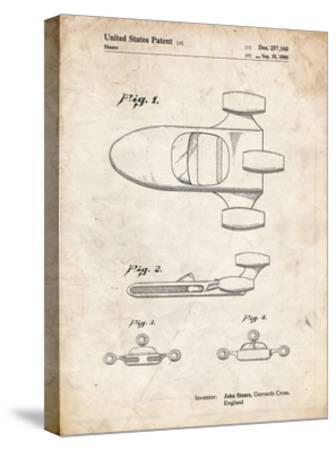 PP650-Vintage Parchment Star Wars X-34 Landspeeder Patent Poster-Cole Borders-Stretched Canvas Print