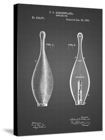 PP652-Black Grid Vintage Bowling Pin Patent Poster-Cole Borders-Stretched Canvas Print