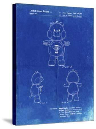 PP676-Faded Blueprint Champ Care Bear Poster-Cole Borders-Stretched Canvas Print