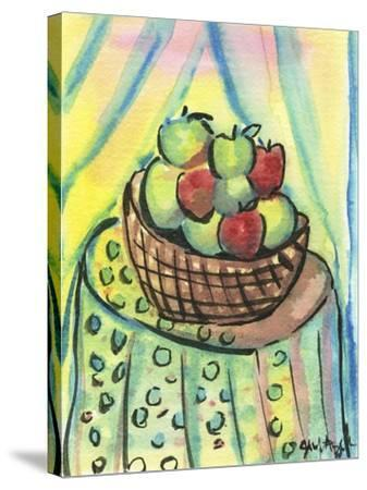 Basket of Apples-Jennifer Frances Azadmanesh-Stretched Canvas Print