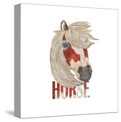 Textimals Horse-JessMessin-Stretched Canvas Print