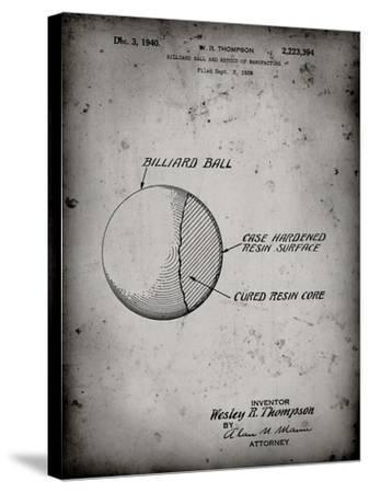 PP736-Faded Grey Billiard Ball Patent Poster-Cole Borders-Stretched Canvas Print