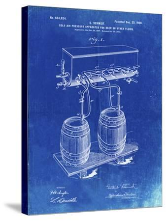 PP729-Faded Blueprint Beer Keg Cold Air Pressure Tap Poster-Cole Borders-Stretched Canvas Print