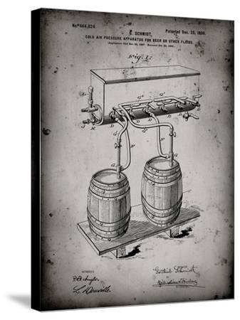 PP729-Faded Grey Beer Keg Cold Air Pressure Tap Poster-Cole Borders-Stretched Canvas Print