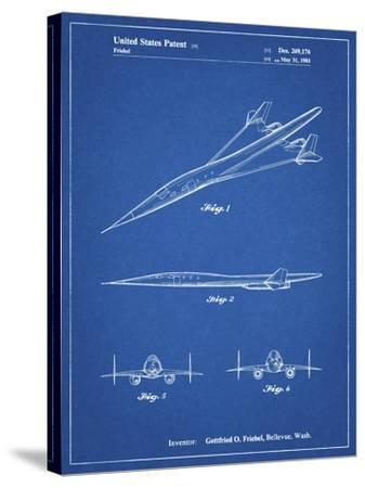 PP751-Blueprint Boeing Supersonic Transport Concept Patent Poster-Cole Borders-Stretched Canvas Print