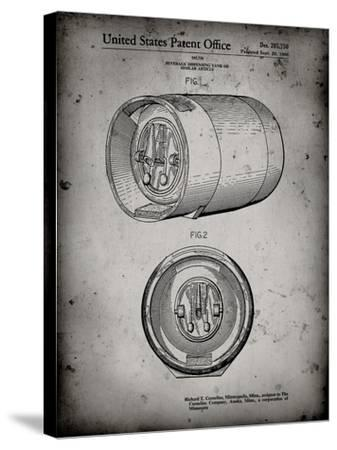 PP730-Faded Grey Beer Keg Patent Poster-Cole Borders-Stretched Canvas Print
