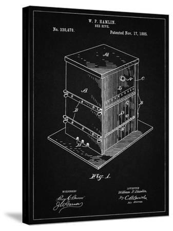PP724-Vintage Black Bee Hive Exterior Patent Poster-Cole Borders-Stretched Canvas Print