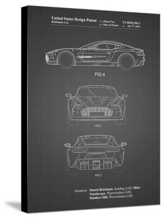 PP711-Black Grid Aston Martin One-77 Patent Poster-Cole Borders-Stretched Canvas Print