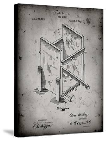 PP725-Faded Grey Bee Hive Frames Patent Poster-Cole Borders-Stretched Canvas Print