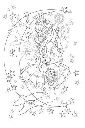 Light The Stars Lineart-Karen Middleton-Stretched Canvas Print