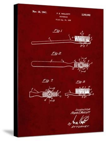 PP815-Burgundy First Toothbrush Patent Poster-Cole Borders-Stretched Canvas Print