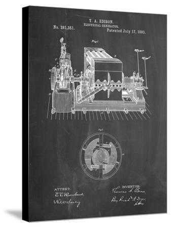 PP794-Chalkboard Edison Electrical Generator Patent Art-Cole Borders-Stretched Canvas Print