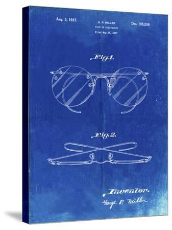 PP803-Faded Blueprint Eyeglasses Spectacles Patent Art-Cole Borders-Stretched Canvas Print