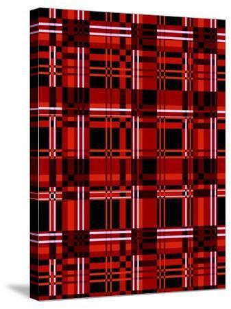 Minimalist Red Plaid Design 06-LightBoxJournal-Stretched Canvas Print