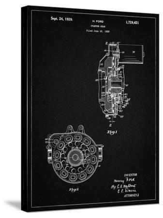PP833-Vintage Black Ford Car Starter Gear 1928 Patent Poster-Cole Borders-Stretched Canvas Print