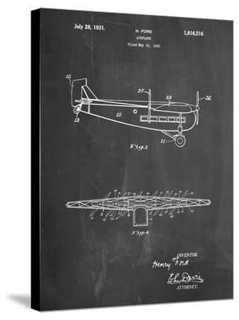 """PP849-Chalkboard Ford Tri-Motor Airplane """"The Tin Goose"""" Patent Poster-Cole Borders-Stretched Canvas Print"""