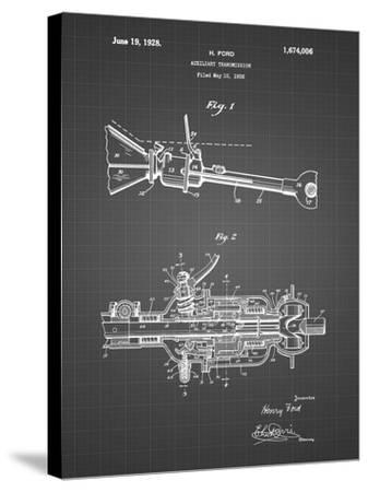 PP831-Black Grid Ford Auxiliary Transmission Patent Poster-Cole Borders-Stretched Canvas Print