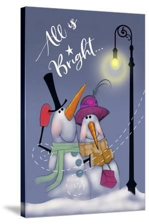 Snow Couple In Streetlight-Margaret Wilson-Stretched Canvas Print