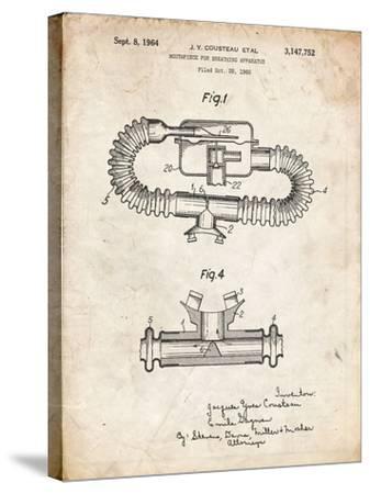 PP896-Vintage Parchment Jacques Cousteau Diving Mouthpiece Patent Poster-Cole Borders-Stretched Canvas Print