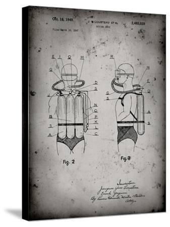 PP897-Faded Grey Jacques Cousteau Diving Suit Patent Poster-Cole Borders-Stretched Canvas Print