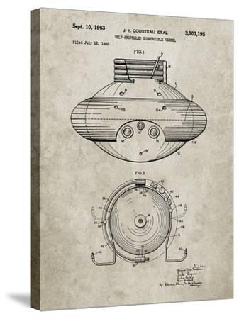 PP898-Sandstone Jacques Cousteau Submersible Vessel Patent Poster-Cole Borders-Stretched Canvas Print