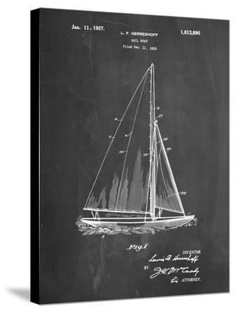 PP878-Chalkboard Herreshoff R 40' Gamecock Racing Sailboat Patent Poster-Cole Borders-Stretched Canvas Print