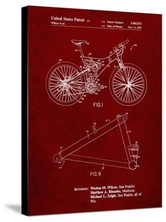 PP965-Burgundy Mountain Bike Patent Art-Cole Borders-Stretched Canvas Print