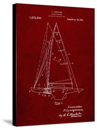 PP942-Burgundy Ljungstrom Sailboat Rigging Patent Poster-Cole Borders-Stretched Canvas Print