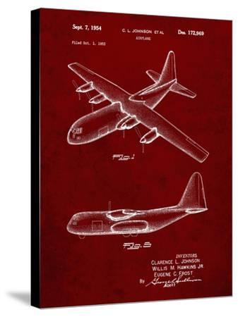 PP943-Burgundy Lockheed C-130 Hercules Airplane Patent Poster-Cole Borders-Stretched Canvas Print
