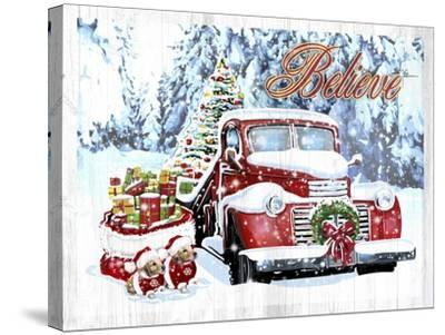 Red Truck Christmas-Old Red Truck-Stretched Canvas Print