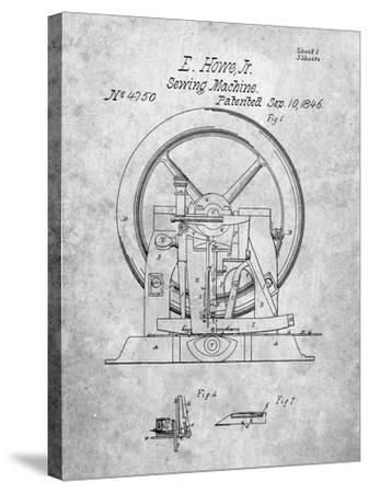PP1035-Slate Singer Sewing Machine Patent Poster-Cole Borders-Stretched Canvas Print
