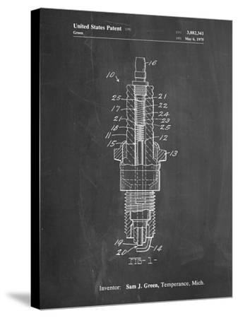 PP1051-Chalkboard Spark Plug Patent Poster-Cole Borders-Stretched Canvas Print
