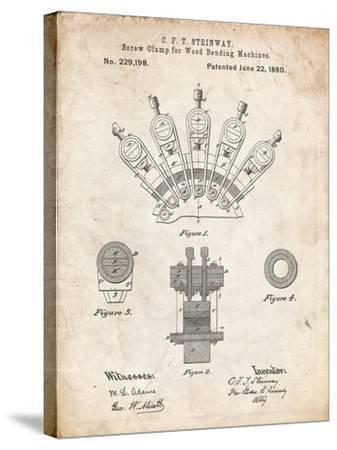 PP1031-Vintage Parchment Screw Clamp 1880  Patent Poster-Cole Borders-Stretched Canvas Print