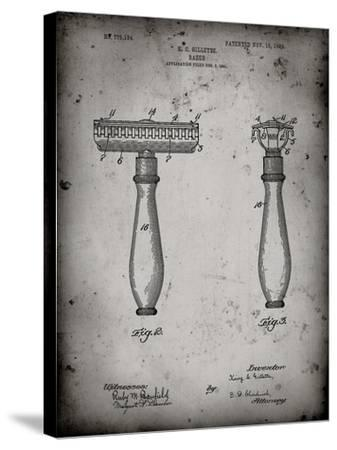 PP1026-Faded Grey Safety Razor Patent Poster-Cole Borders-Stretched Canvas Print